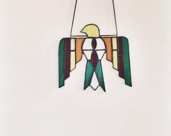 "Stained glass sun catcher, ""thunderbird"", handmade"