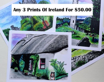 SALE, Pick 3, Irish Watercolors, Prints of Ireland, Irish Paintings, Thatched Cottage, Ring of Kerry, Blarney Castle, St Kevens, Dublin, Art