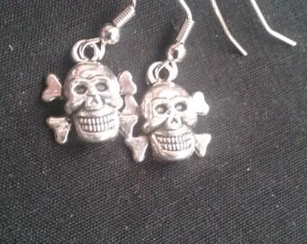 Skull Earrings, Skull Jewelry, Skull and Crossbone Earrings, Nickel Free Earrings, Silver Plated