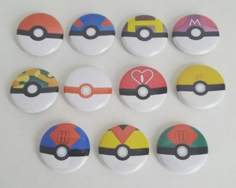 Pokemon Pokeball inspired 2.25 inch pinback button set