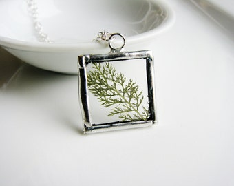 Green Fern Necklace, Framed Glass Pendant Necklace, Pressed Flower Necklace, Soldered Glass Jewelry, Nature Necklace