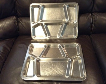 Vintage (2) US Navy WWII Mess Hall Cafeteria Food Trays, Made by Carrollton Mfg. Co, Repurpose as Artist Paint Dividers, Bead Divider (Used)