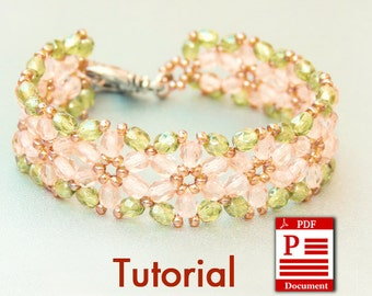 Tutorial. Flowers of Spring DIY Beading bracelet PDF pattern. Beadweaving with Czech fire polished beads.