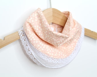 Teething bandana scarf - little bib - teeth - nude - double gauze cotton