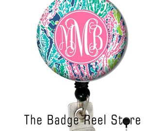 Name Badge Holder, Retractable ID Badge Holder, Name Tag, Personalized, Badge Reel, ID holder, Nurse, Monogrammed - Preppy lets cha cha