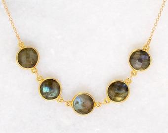 Multi stone Gemstone  Necklace - Bezel set Necklace - Gemstone Necklace - Mother's Necklace - Gift for mom - Bridesmaid Gift