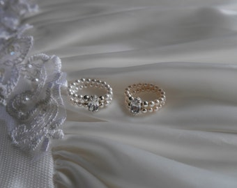 Honeymoon Ring -  HAND MADE with Swarovski pearls with sparkling diamantes stretch style dress ring