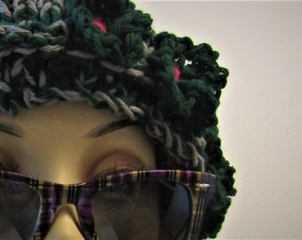 Forest Green Flowered Hat