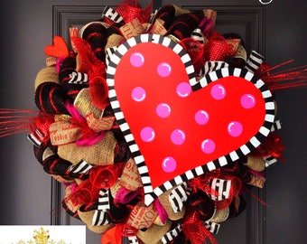 Valentines Day Wreath, Valentines wreath, wreath, deco mesh wreath, valentines wreath for front door, valentines wreath door, valentines day