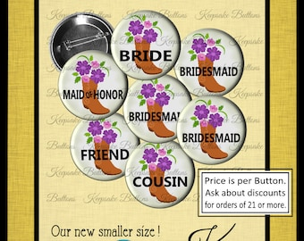 "Bachelorette Party Buttons, 1.25"" Classy Country Wedding, Custom Bride's Posse, I'm Gettnig Hitched, Girls Night Out, Cowgirl Boot & Flowers"