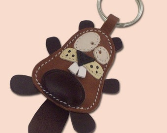Beaver Lover Gift - Leather Keychain Cute Little Beaver, Beaver Leather Bag Charm, Beaver things To Buy, Canadian Keychain