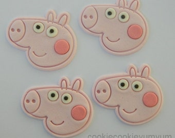 12 edible PEPPA GEORGE PIG cake cupcakes wedding topper decoration party wedding anniversary birthday character kids pepper