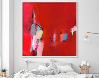Contemporary Art Abstract Art Print from Red Abstract Painting, Modern painting, Modern Wall Art, Large wall art by Duealberi