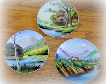 Collectible Plates 3 Three Asian Hanging Plates Vintage Hand Painted Japan Countryside Scenic Design Coordinating Patterns