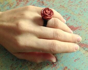 Boho Rose Ring, Pearl Rose Ring