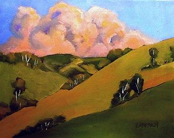California Painting Plein Air Landscape Santa Cruz Hills & Clouds Skyline Drive Impressionist Art Lynne French O/C 12x12