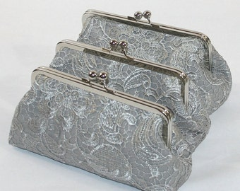 Silver Lace Bridesmaid Clutches / Lace Wedding Clutches / Wedding Gift / Bridal Clutch