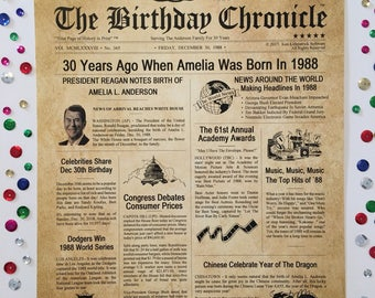 30th Birthday Gifts, Personalized, Headline News Print, Time Capsule, Newsletter Style, 1988 Birthday Gift, Chronicle, 30th Milestone Gifts