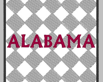 Alabama with Diamond background Embroidery Design 2 sizes - multiple formats - crimson, gray and black - 3 color design - instant download