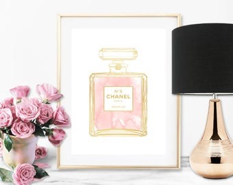 Chanel No 5 Perfume Bottle Blush Pink Faux Gold Art Print - Instant Digital Download