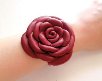 Red Leather Bracelet Leather Roses Leather Flowers Cuff Bracelet For Woman Gift Idea For Her Leather Jewelry Design