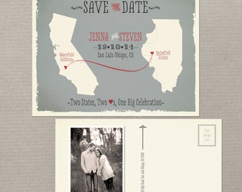 Destination wedding invitation US State Wedding Modern save the date Two States Two Hearts Grey coral Save the Date Postcard DEPOSIT PAYMENT