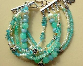 Multi (6) Strand Apatite, Chrysoprase, Freshwater Pearls and Sterling Silver Flower Bracelet