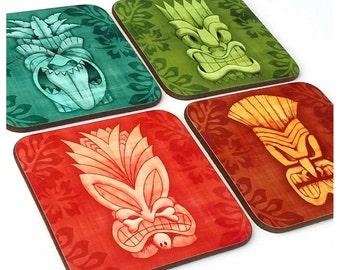 Tiki Coasters, set of four - Tiki Gift - Tiki Bar Accessories - Hawaiian Style coasters - Tiki Home Decor - Tiki masks - Tropical Coasters