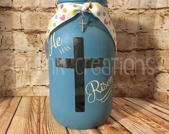 Easter Cross Painted Mason Jar Tea Light Candle Holder, Easter cross, painted mason jar, tea light candle, He has Risen, Easter decoration