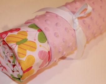 Sweet Butterfly on Light Pink Minky, Baby Blanket