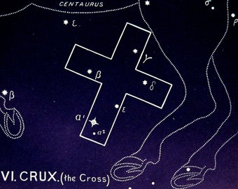 1911 Antique print of STARS. CONSTELLATIONS. CRUX. The Cross. Astronomy print. Zodiacal Constellations Zodiac. 117 years old celestial chart