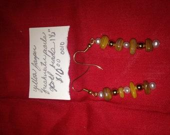 Yellow jasper and freshwater pearl earrings