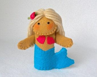 Mermaid Felt Finger Puppet,  Hand Stitched Blonde Mermaid, Storytelling Prop, 3D Puppet