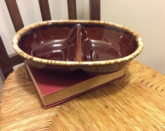 Vintage Hull Pottery Brown Drip Divided Vegetable Serving Bowl, Oven Proof  Casserole Dish , H. P. USA Pottery, Ceramic Dish, Shabby  Chic
