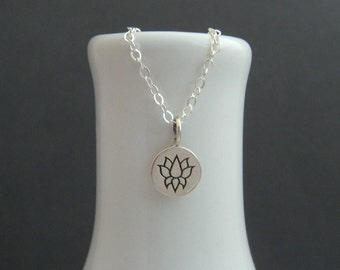 """tiny silver lotus flower necklace. sterling silver zen yoga jewelry. simple. delicate charm. everyday. dainty jewelry. gift for her 3/8"""""""