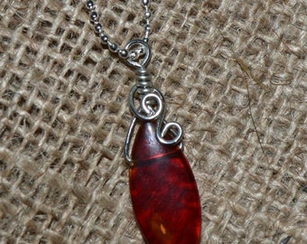Simple red glass wire wrapped briolette pendant