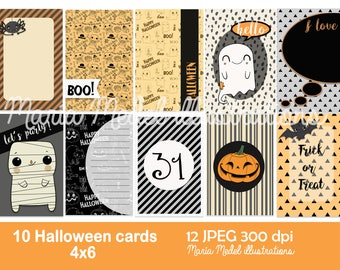 Printable journaling or project life Halloween-themed cards-  10 cards.  Instant download