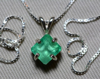 Emerald Necklace, Colombian Emerald Pendant 1.91 Carat Certified 1,700.00, Sterling Silver, Real Genuine Natural Jewelry, May Birthstone