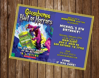 Goosebumps Personalized Invitation -  Digital or Printed w Envelopes