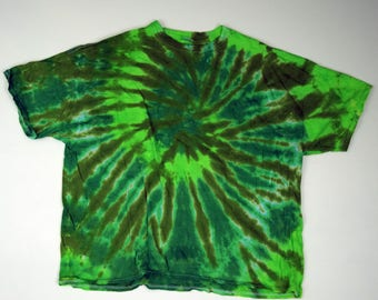 Green Pond Spiral Tie Dye T-Shirt (Gildan Ultra Cotton Size 4XL) (One of a Kind)