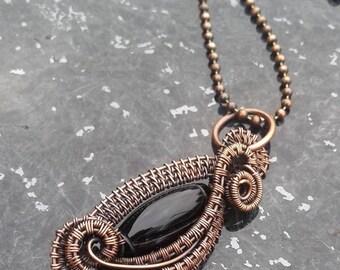 Copper wire wrapped pendant,  Copper jewelry necklace, Copper jewelry handmade, Copper black pendant