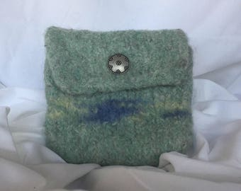 Blue felted wool pouch.