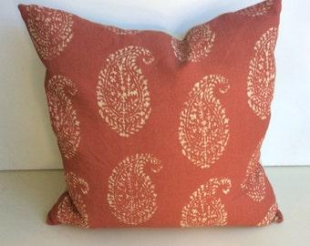 Peter Dunham Kashmir Paisley Fabric Pillow with Linen Back