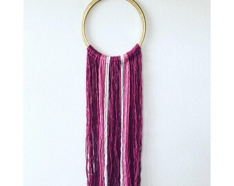 Gold Embroidery Hoop Wall Hanging in Pink