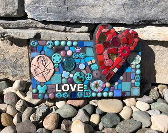Lil' Love Note. (Handamde Original Mixed Media Mosaic Wall Hanging by Shawn DuBois)