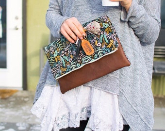 Tapestry Fold Over Leather Clutch
