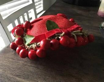 Vintage 1950s cherry red hat