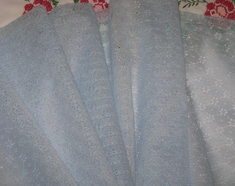"""Vintage Lace Fabric Yardage Light Blue Daisy Flower Pattern 1 3/4 Yards 42"""" Wide - 1960's Material Lace"""