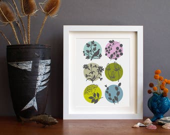 Floral art - botanic art - contemporary floral - flower print - gift idea gardener - mothers day gift - Alison Bick -  alisonbick
