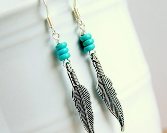 feather earrings, drop dangle, boho jewelry, bohemian earrings, southwestern silver earrings